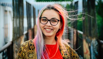 Happy teenager with colourful hair