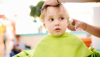 Young boy getting hair cut